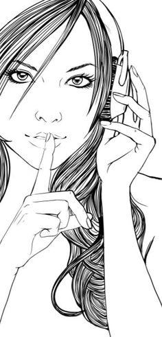 Girl with headphones...shhhh. #music #artwork #headphones #cans http://www.pinterest.com/TheHitman14/headphones-microphones-%2B/
