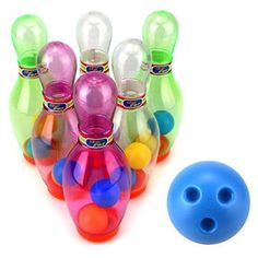 Mini K Sport Children's Kid's 7 Pcs. Toy Bowling Playset w/ 6 Pins, Bowling Ball
