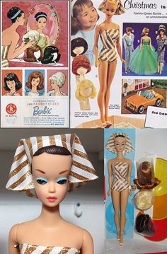 1963 Barbie 'Fashion Queen' ... Vintage Barbie Fashion Queen dolls were released in 1963. Wigs were a popular fashion item in the early to mid-1960s. Fashion Queen Barbie had molded painted hair and came with three wigs ... 1963 to 1965. Hair Colors: Molded hair painted brown with removable blue band. Face: Blue eyes, brown eyebrows, coral or pink lips.