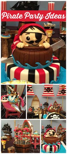 A red and black pirate boy birthday party with lots of themed decorations and a very fun cake!