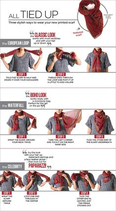 I'm a scarf queen! scarf-tying how-to Look Fashion, Fashion Beauty, Autumn Fashion, Fashion Tips, Chicos Fashion, Mode Style, Style Me, Style Blog, Look Star