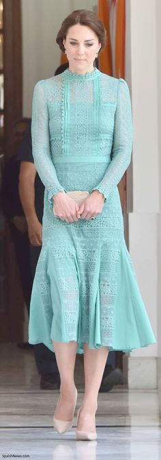 hrhduchesskate:  Royal Tour, 2016, Day 3, New Delhi and Assam, India, April 12, 2016-For her afternoon engagements, the Duchess of Cambridge wore the Temperley London Desdemona dress in jade green lace from the Autumn 2016 Collection, accessorized with her L.K. Bennett Fern pumps and Natalie clutch, and Kiki McDonough 'Special Edition Green Tourmaline, Green Amethyst and Diamond Earrings' made to celebrate the birth of Princess Charlotte