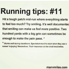 I've never seen a #tip like this before, but it makes perfect sense. Tense face = tense body = unnatural, tense running. Try smiling! #run