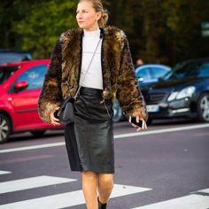 #faux #fur #leatherskirt #fallstyle