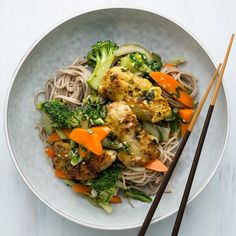 Lemongrass Chicken with Sesame Soy Vegetables and Soba Noodles Soba Noodles, Chicken Thighs, Lemon Grass, Coriander, Broccoli, Carrots, Cabbage, Pasta, Citronella