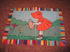 Antique Primitive Folk Art Hand Hooked Wool Rug Young Girl Watering Can Flowers | eBay