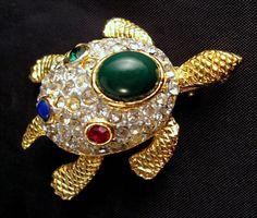 Sphinx Turtle Brooch Green Cabochon Red by GrapenutGlitzJewelry