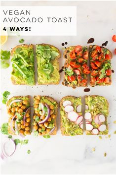 Vegan Avocado Toast – 4 Ways! + VIDEO Avocado Toast Recipes — All vegan and so easy to make, these avocado toast flavors are the BEST healthy breakfast or snack! Lemon arugula, tomato and balsamic, BBQ chickpeas, and super seedy avocado toast. Avocado Breakfast, Vegan Breakfast Recipes, Vegan Recipes Plant Based, Vegetarian Recipes, Delicious Recipes, Healthy Recipes, Vegan Foods, Vegan Dishes, Toast Foie Gras