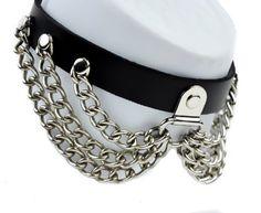 Silver Chain Leather Gothic Choker Collar Punk Elegant Gothic