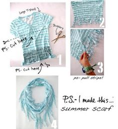 Another Pinner: We gathered the best scarf DIY projects around so you can get crafty and make your own scarves. Some even use recycled materials so you can take an eco friendly approach to fashion. how to make a h...
