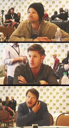 #Jared #Jensen #Misha and their facial expressions in interviews <3