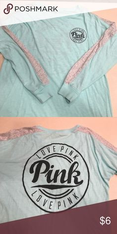 Pink longsleeve T aqua and gray size extra small Victoria secrets pink longsleeved tee. The back says love pink as well as the front chest in good condition size extra small PINK Victoria's Secret Tops Tees - Long Sleeve