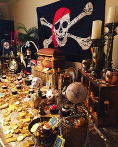 Every pirate has treasure! A perfect dessert table filled with sweet treasures Pirate Party Decorations, Pirate Decor, Pirate Theme, Halloween Decorations, Party Themes, Pirate Centerpiece, Party Ideas, Pirate Halloween Party, Pirate Birthday