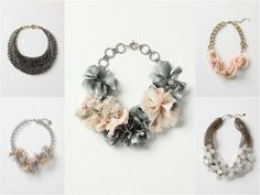 Mixed statement necklaces for bridesmaids