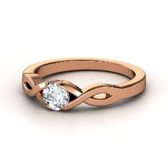 Two Paths Solitaire Ring, Round Diamond Rose Gold Ring from Gemvara