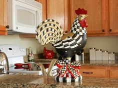 Whimsial Hand Painted Poly-Resin Rooster with Mackenzie Childs Courtly Check Ribbon. $150.00