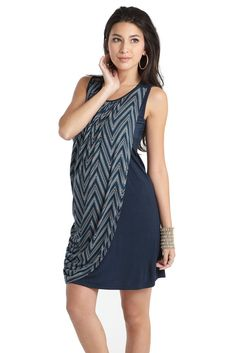 Athena Drape Sleeveless Nursing Dress in Dotted Zig Zag.  Please use coupon code NewProducts to receive 15% off these items. To receive the discount, please place your order by midnight Monday, April 11, 2016