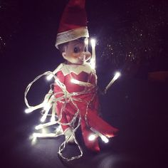 Our Elf on the Shelf was all tangled in some Christmas lights this morning! He had brought us a few new strings of outdoor lights to hang over the weekend! He's such a thoughtful Elf!