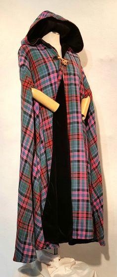 Tartan (Plaid) and Velvet Cape Tartan Dress, Tartan Plaid, Plaid Scarf, Velvet Color, Winter Formal, Scottish Tartans, Outerwear Women, Jackets For Women, Ladies Jackets