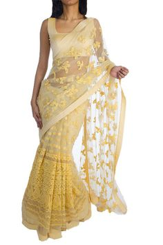 6Y Collective - Embroidered Sari in Wheat Gold