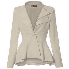 Women Double Notch Lapel Office Blazer JK43864 1073T NAVY 1X at Amazon... (1.655 RUB) ❤ liked on Polyvore featuring outerwear, jackets, blazers, brown blazer, navy blue blazer, navy blue jacket, blazer jacket and brown jacket