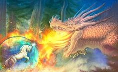 DRAGON VS UNICORN by GIANTLY.deviantart.com on @DeviantArt