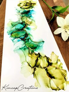 "Cadre, dessin abstrait à l'encre ""Greenlife"" vert et holographique Alcohol Ink Painting, Decoration, Watercolor Tattoo, France, Acrylic Paintings, Watercolor Painting, Holographic, Art Crafts, Green"