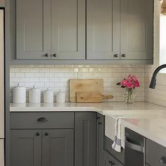 LOVE the gray - kitchens - gray cabinets, gray kitchen cabinets, kraftmaid kitchen cabinets, kraftmaid cabinetry, white counters, white q...