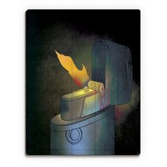 "Click Wall Art Marigold Illuminating Flame Painting Print on Plaque Size: 24"" H x 20"" W x 1"" D"
