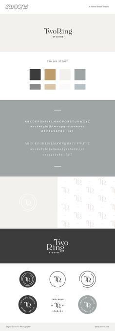 Brand concept designed by Swoone for Nashville, North Carolina photographers Two Ring Studios Collateral Design, Brand Identity Design, Branding Design, Lettering, Typography, Branding Services, Brand Style Guide, Branding Your Business, Brand Board