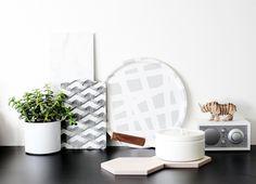 RK Design Wings cutting board, grey tray, plywood trivet