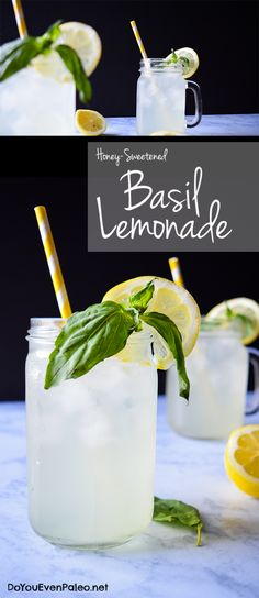 Honey-Sweetened Basil Lemonade - paleo and gluten free this lightly sweetened lemonade is a perfect summer drink! Refreshing Drinks, Fun Drinks, Yummy Drinks, Healthy Drinks, Beverages, Healthy Juices, Healthy Food, Strawberry Basil Lemonade, Fresh Squeezed Lemonade