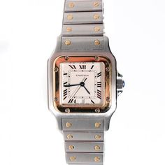 See more detail about CARTIER Stainless Steel 18K Yellow Gold 29mm Santos De Cartier Galbee Watch..