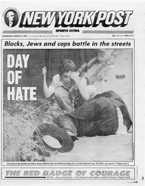 August 1991 NY Post front page shows the riots lasted for 3 days Police Crime, On This Date, Crown Heights, Seven Years Old, The Crown, Black History, Brooklyn, Lettering, Three Days