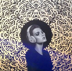 amir ershadi. oil and gold sheet on canvas. 2015. 150*150 cm