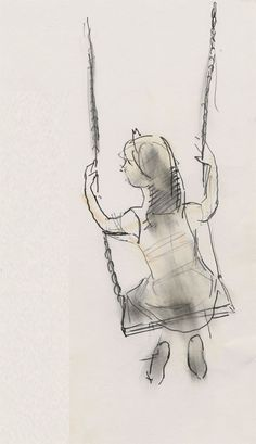 Little girl on a swing drawn in Budapest in 2012 by Julian Williams