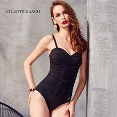 59.49$  Watch now - http://aliqvs.worldwells.pw/go.php?t=32670704013 - Atlanticbeach Solid Sexy Women One Piece Swimsuit Swimwear high waist Monokini Push Up bathing suit maillot de bain bodysuit