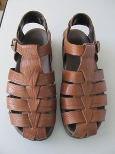9ead5087b0c Mens Mephisto pebbled brown leather fisherman style sandals sz 43 (9 U.S.)  Nice!  Mephisto  Fisherman