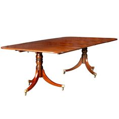 English Regency Two Pedestal Dining Table | From a unique collection of antique and modern dining room tables at https://www.1stdibs.com/furniture/tables/dining-room-tables/