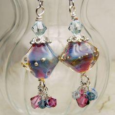 Lampwork Earrings Silver Beaded Jewelry by StoneDesignsbySheila