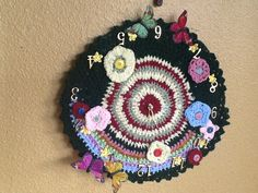 My crocheted clock.  Love doing it |Pinned from PinTo for iPad|