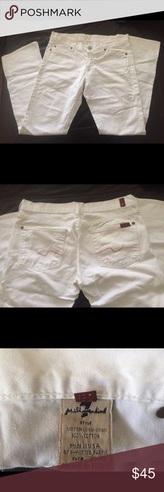 7 for all mankind white jeans! White with pink stitching on back pockets. Worn once, excellent condition, like new! 7 For All Mankind Jeans Straight Leg