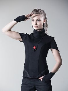 Black cyberpunk top sci fi vest avant garde shirt short sleeve high neck blouse pocket rayon jersey - FN