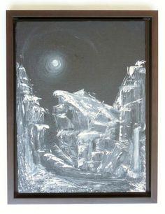 """Öl Gemälde Kanvas Rahmen Handgemalt Berg Landschaft Abstrakt Wasserfall Hajewski, """"night"""" Hajewski Gc, Öl, monochrom (en grisaille), kanvas (Leinen rein,) Größe: 40x30cm,"""