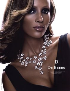 In 2004 Iman decided to end her multi-million dollar contract with De Beers (campaign seen here) after she learned about Botswana's Busman being evicted from their ancestral lands and relocated for. Famous Stars, Ebony Beauty, Black Beauty, Hollywood Celebrities, Diamond Are A Girls Best Friend, Beautiful Black Women, Model Photos, Pretty Woman, Supermodels