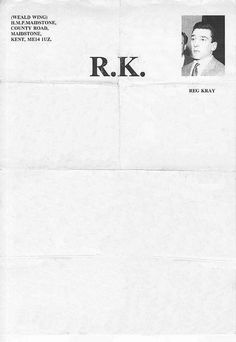 Letterhead used by Reggie Kray - one half of the Kray twins - whilst a prisoner at HMP Maidsone in 1994.  Reggie Kray, 1994 | Source