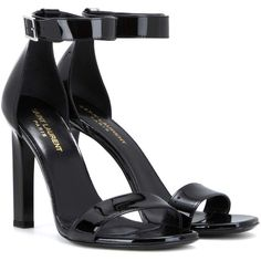 Saint Laurent Grace 105 Patent Leather Sandals (5.280 DKK) ❤ liked on Polyvore featuring shoes, sandals, heels, sapatos, ysl, black, black sandals, patent sandals, heeled sandals and yves saint laurent sandals