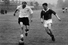 Sir Stanley Matthews (L) and Roger Byrne (1955)