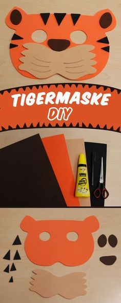 Make tiger mask for carnival - Top Paper Crafts Animal Crafts For Kids, Diy For Kids, Kids Fun, Jungle Crafts, Tiger Costume, Tiger Mask, Tiger Crafts, Animal Masks, Boy Costumes