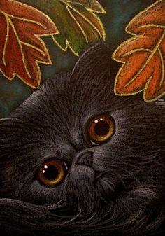 """Black Persian Cat - Autumn"" par Cyra R. Cancel"
